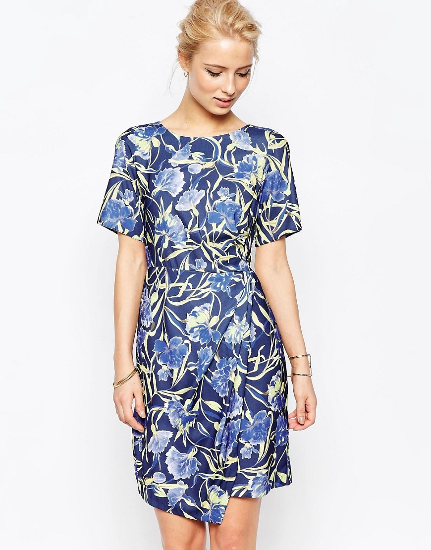 Closet Floral Dress With Wrap Skirt Multi - style: shift; fit: tailored/fitted; secondary colour: pale blue; predominant colour: navy; occasions: evening; length: just above the knee; fibres: cotton - 100%; neckline: crew; sleeve length: short sleeve; sleeve style: standard; texture group: crepes; pattern type: fabric; pattern: florals; multicoloured: multicoloured; season: s/s 2016; wardrobe: event