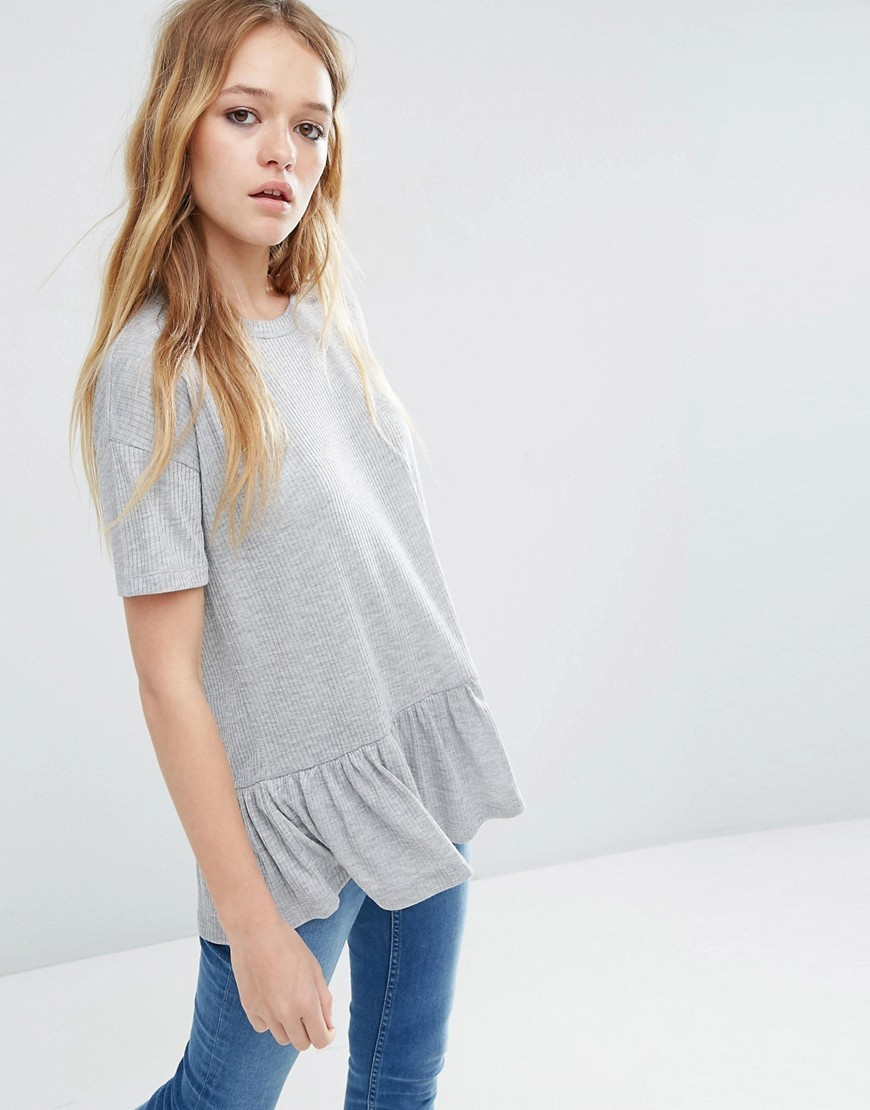T Shirt With Ruffle Hem Grey Marl - neckline: round neck; length: below the bottom; style: t-shirt; predominant colour: mid grey; occasions: casual; fibres: cotton - stretch; fit: loose; sleeve length: short sleeve; sleeve style: standard; pattern type: fabric; pattern size: light/subtle; texture group: jersey - stretchy/drapey; pattern: marl; season: s/s 2016; wardrobe: basic