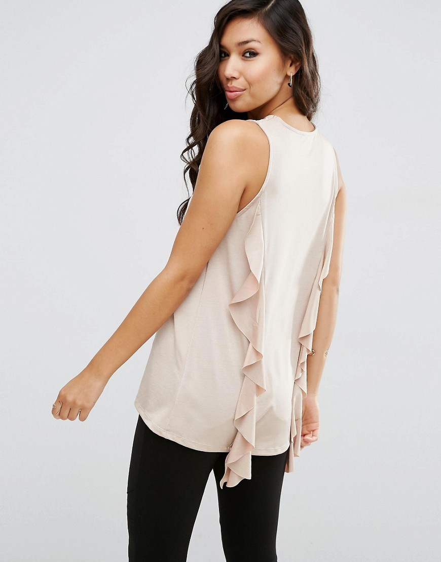 Top With Dip Back And Ruffle Detail Stone - neckline: round neck; pattern: plain; sleeve style: sleeveless; length: below the bottom; predominant colour: stone; occasions: casual, evening, creative work; style: top; fibres: polyester/polyamide - stretch; fit: body skimming; sleeve length: sleeveless; texture group: sheer fabrics/chiffon/organza etc.; pattern type: fabric; season: s/s 2016; wardrobe: highlight; embellishment: contrast fabric; embellishment location: back
