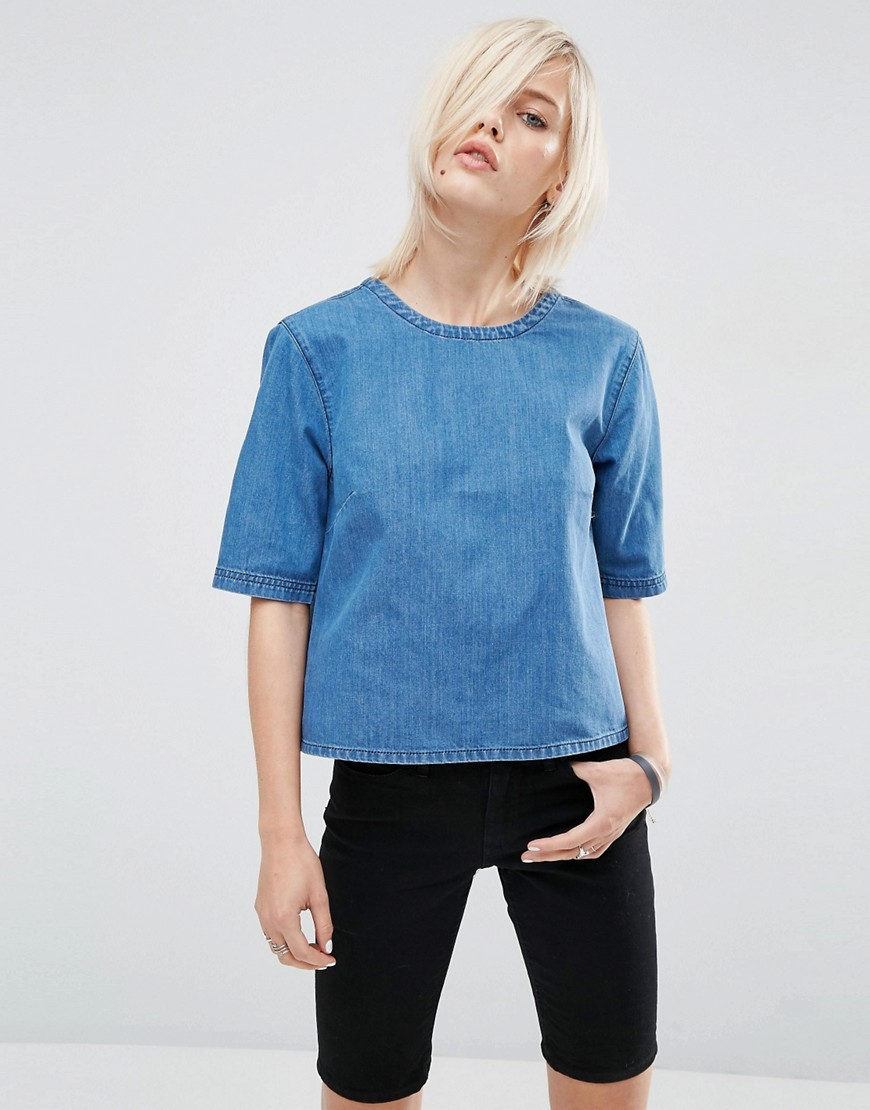 Denim T Shirt Mid Wash Blue - pattern: plain; style: t-shirt; predominant colour: denim; occasions: casual; length: standard; fibres: cotton - 100%; fit: straight cut; neckline: crew; sleeve length: half sleeve; sleeve style: standard; texture group: denim; pattern type: fabric; season: s/s 2016; wardrobe: basic
