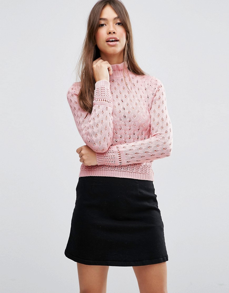 Jumper In Pointelle With Ruffle Neck Detail Pink - neckline: high neck; style: standard; predominant colour: blush; occasions: casual, creative work; length: standard; fibres: cotton - mix; fit: slim fit; sleeve length: long sleeve; sleeve style: standard; texture group: knits/crochet; pattern type: knitted - other; pattern size: standard; pattern: patterned/print; season: s/s 2016; wardrobe: highlight