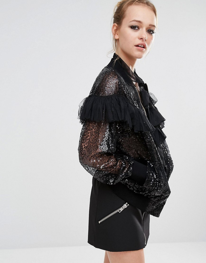 Sequin Ruffle Bomber Jacket Black - pattern: plain; collar: round collar/collarless; style: bomber; predominant colour: black; length: standard; fit: straight cut (boxy); fibres: polyester/polyamide - 100%; sleeve length: long sleeve; sleeve style: standard; texture group: sheer fabrics/chiffon/organza etc.; collar break: high; pattern type: fabric; embellishment: sequins; occasions: creative work; season: s/s 2016; wardrobe: highlight; embellishment location: all over