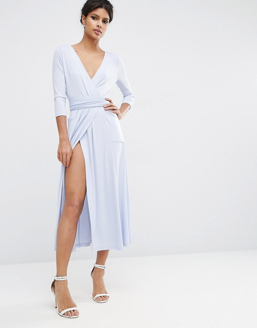 Crepe Wrap Midi Dress Pale Blue - style: faux wrap/wrap; length: calf length; neckline: v-neck; pattern: plain; predominant colour: pale blue; occasions: evening; fit: body skimming; fibres: polyester/polyamide - stretch; sleeve length: long sleeve; sleeve style: standard; pattern type: fabric; texture group: jersey - stretchy/drapey; season: s/s 2016; wardrobe: event