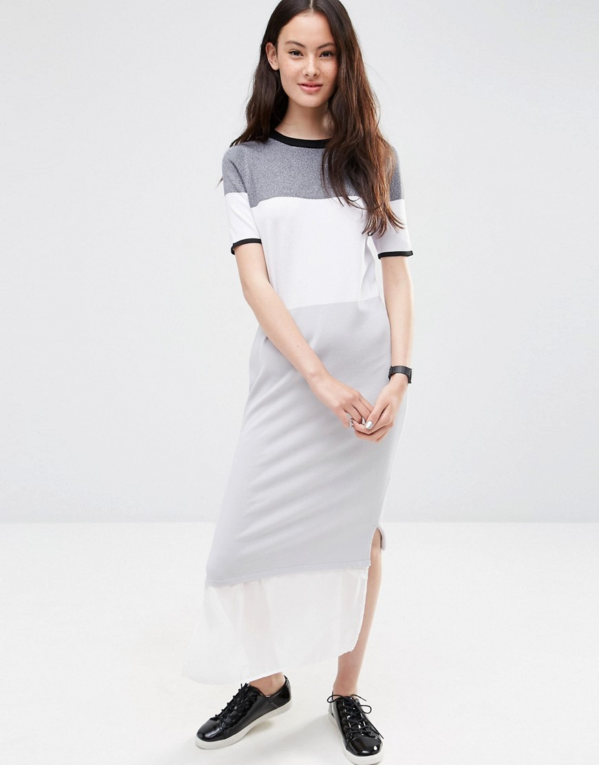 Knitted Column Dress In Colour Block Mono - style: maxi dress; length: ankle length; predominant colour: white; secondary colour: light grey; occasions: casual; fit: body skimming; neckline: crew; sleeve length: short sleeve; sleeve style: standard; pattern type: fabric; pattern: colourblock; texture group: jersey - stretchy/drapey; fibres: viscose/rayon - mix; multicoloured: multicoloured; season: s/s 2016; wardrobe: highlight