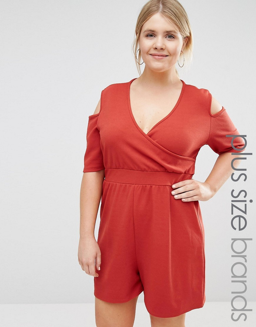 Cold Shoulder Playsuit Red - neckline: v-neck; pattern: plain; length: short shorts; predominant colour: bright orange; occasions: casual; fit: body skimming; fibres: polyester/polyamide - stretch; shoulder detail: cut out shoulder; sleeve length: half sleeve; sleeve style: standard; style: playsuit; pattern type: fabric; texture group: jersey - stretchy/drapey; season: s/s 2016; wardrobe: highlight