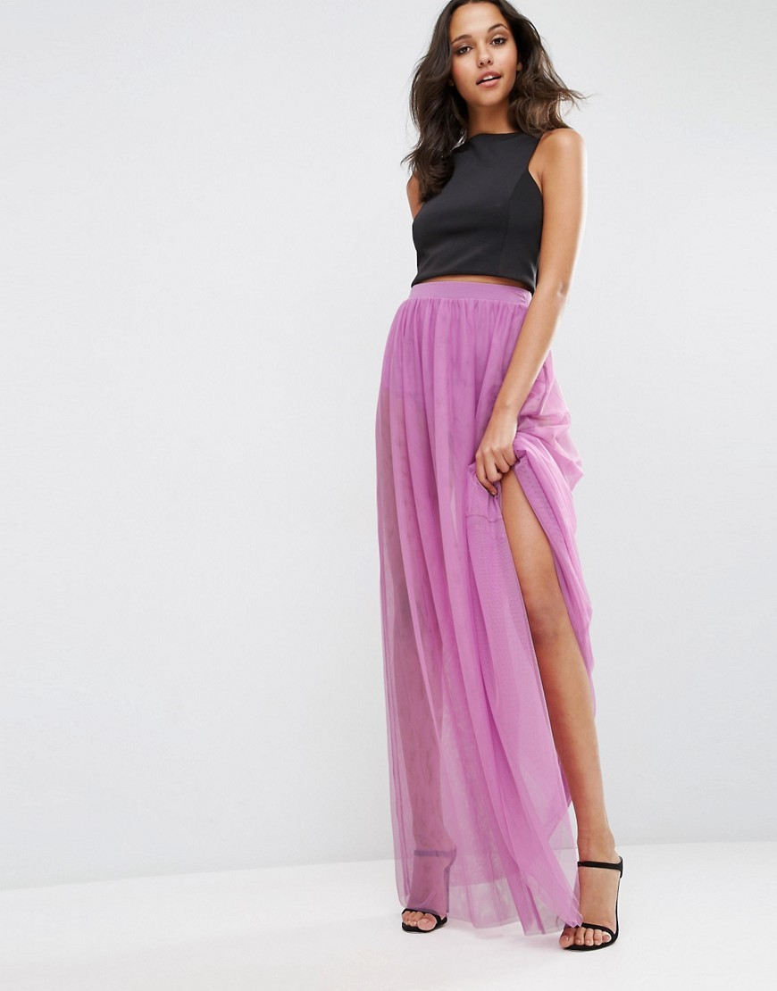 Sheer Maxi Skirt With Knicker Short Purple - pattern: plain; fit: loose/voluminous; waist detail: elasticated waist; waist: high rise; predominant colour: purple; occasions: evening; length: floor length; style: maxi skirt; fibres: polyester/polyamide - 100%; hip detail: subtle/flattering hip detail; texture group: sheer fabrics/chiffon/organza etc.; pattern type: fabric; season: s/s 2016; wardrobe: event