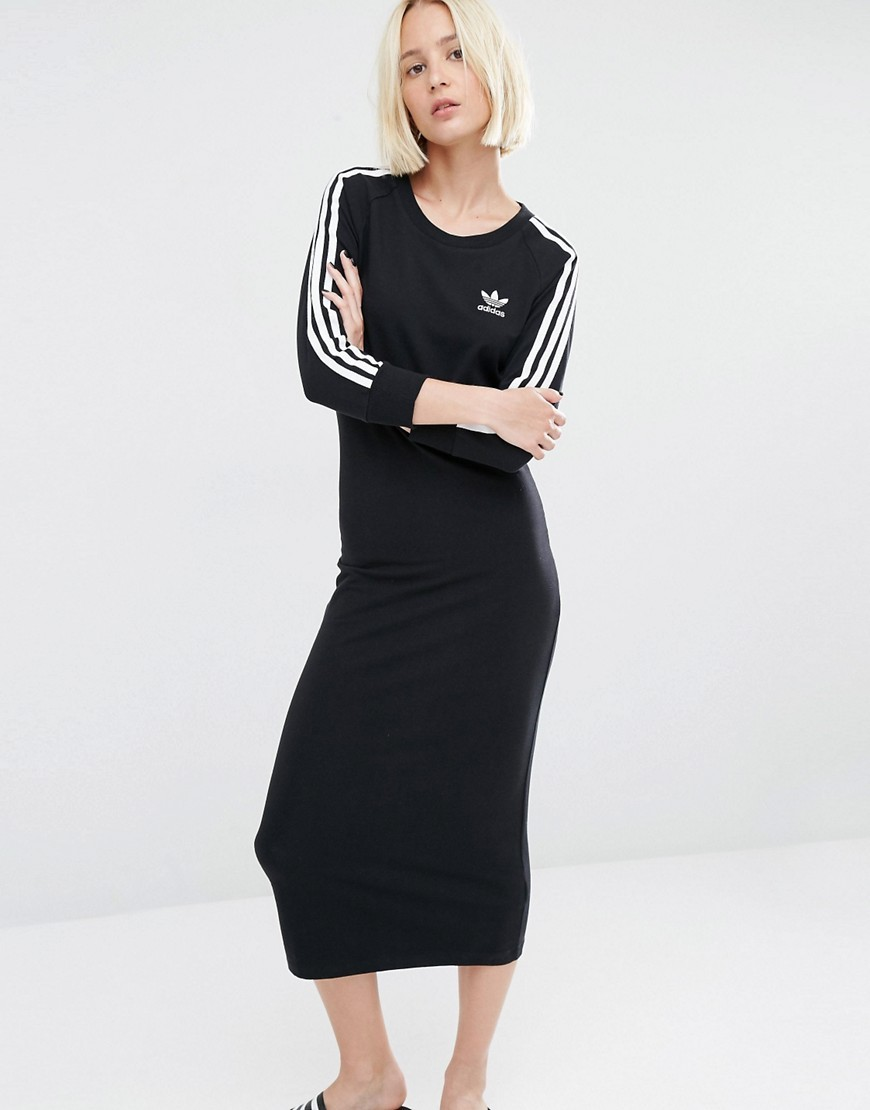 Originals Three Stripe Maxi Dress Black - style: t-shirt; length: below the knee; pattern: striped; secondary colour: white; predominant colour: black; occasions: casual; fit: body skimming; fibres: cotton - stretch; neckline: crew; sleeve length: long sleeve; sleeve style: standard; texture group: jersey - clingy; pattern type: fabric; pattern size: standard; season: s/s 2016; wardrobe: highlight