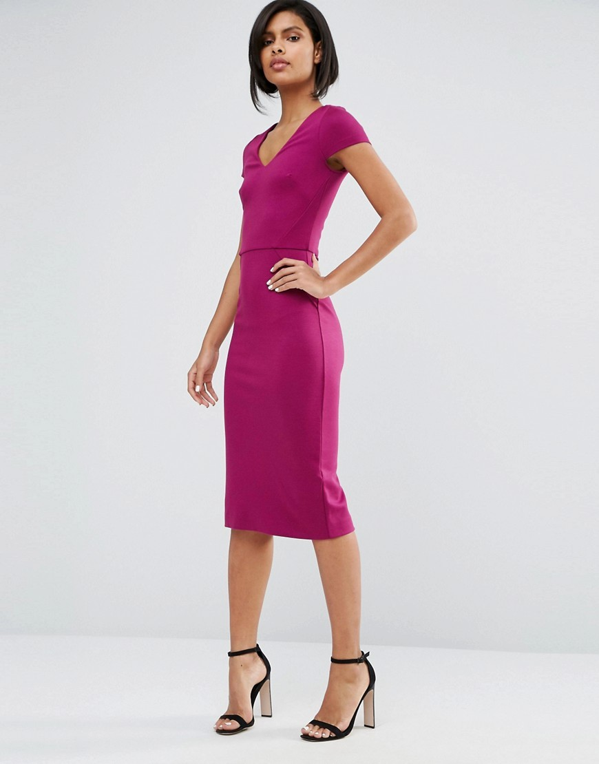 Lula Stretch Midi Dress Dark Magenta - length: below the knee; neckline: low v-neck; sleeve style: capped; fit: tight; pattern: plain; style: bodycon; hip detail: draws attention to hips; predominant colour: magenta; occasions: evening, creative work; fibres: polyester/polyamide - stretch; sleeve length: short sleeve; texture group: jersey - clingy; pattern type: fabric; season: s/s 2016; wardrobe: highlight