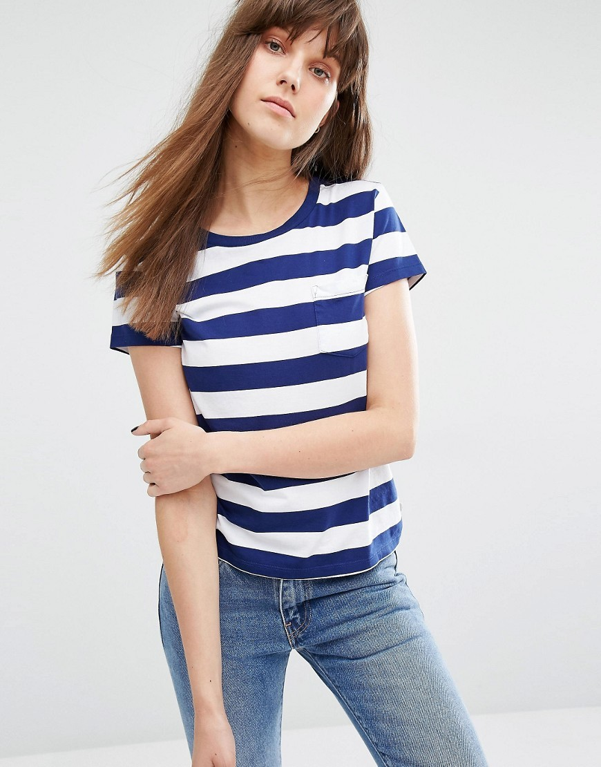 Stripe Pocket T Shirt New Blue/White - pattern: horizontal stripes; style: t-shirt; predominant colour: white; secondary colour: navy; occasions: casual; length: standard; fibres: cotton - 100%; fit: body skimming; neckline: crew; sleeve length: short sleeve; sleeve style: standard; pattern type: fabric; texture group: jersey - stretchy/drapey; multicoloured: multicoloured; season: s/s 2016; wardrobe: basic