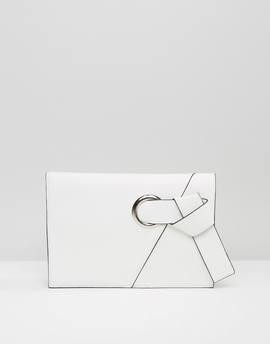 Eyelet Knot Clutch Bag White - predominant colour: white; occasions: evening, occasion; type of pattern: standard; style: clutch; length: hand carry; size: standard; material: faux leather; pattern: plain; finish: plain; season: s/s 2016; wardrobe: event