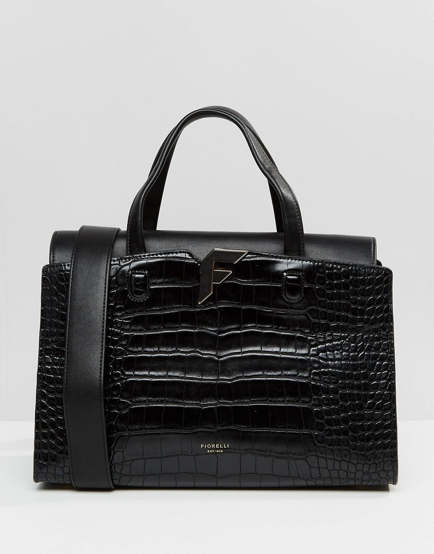 Brompton Tote Bag In Black Croc Brompton Black Croc - predominant colour: black; occasions: casual, creative work; type of pattern: standard; style: tote; length: handle; size: standard; material: faux leather; pattern: plain; finish: plain; season: s/s 2016
