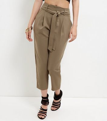 Olive Green Tie Waist Tapered Trousers - pattern: plain; style: peg leg; waist: high rise; waist detail: belted waist/tie at waist/drawstring; predominant colour: khaki; occasions: evening, creative work; length: ankle length; fibres: polyester/polyamide - 100%; fit: tapered; pattern type: fabric; texture group: woven light midweight; season: s/s 2016; wardrobe: basic