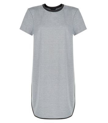 Grey Contrast Trim T Shirt Dress - style: t-shirt; length: mid thigh; predominant colour: light grey; secondary colour: black; occasions: casual; fit: straight cut; fibres: cotton - stretch; neckline: crew; sleeve length: short sleeve; sleeve style: standard; pattern type: fabric; pattern size: light/subtle; pattern: colourblock; texture group: jersey - stretchy/drapey; season: s/s 2016; wardrobe: highlight