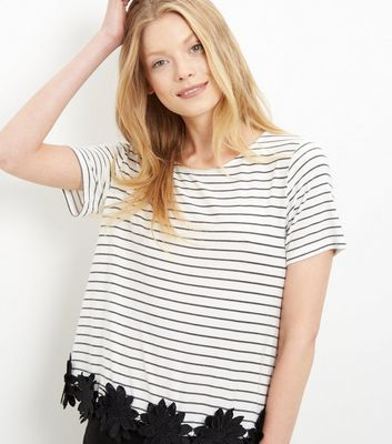 Black Stripe Crochet Trim T Shirt - neckline: round neck; pattern: horizontal stripes; style: t-shirt; predominant colour: white; secondary colour: black; occasions: casual; length: standard; fibres: cotton - stretch; fit: straight cut; sleeve length: short sleeve; sleeve style: standard; trends: monochrome; pattern type: fabric; pattern size: standard; texture group: jersey - stretchy/drapey; embellishment: lace; season: s/s 2016; wardrobe: highlight; embellishment location: hip