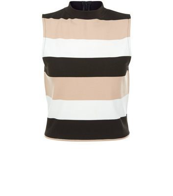 Shell Pink Stripe Funnel Neck Sleeveless Top - pattern: horizontal stripes; sleeve style: sleeveless; neckline: high neck; secondary colour: pink; predominant colour: black; occasions: casual; length: standard; style: top; fibres: polyester/polyamide - stretch; fit: body skimming; sleeve length: sleeveless; pattern type: fabric; texture group: jersey - stretchy/drapey; multicoloured: multicoloured; season: s/s 2016; wardrobe: highlight