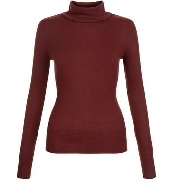 Burgundy Long Sleeve Turtle Neck Top - pattern: plain; neckline: roll neck; predominant colour: burgundy; occasions: casual; length: standard; style: top; fibres: polyester/polyamide - mix; fit: body skimming; sleeve length: long sleeve; sleeve style: standard; texture group: jersey - clingy; pattern type: fabric; season: s/s 2016