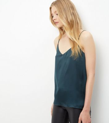 Dark Green Sateen V Neck Cami - neckline: low v-neck; sleeve style: spaghetti straps; pattern: plain; style: camisole; predominant colour: teal; occasions: casual, evening; length: standard; fibres: polyester/polyamide - 100%; fit: body skimming; sleeve length: sleeveless; texture group: silky - light; pattern type: fabric; season: s/s 2016; wardrobe: highlight