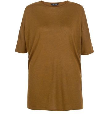 Olive Green Marl Oversized T Shirt - pattern: plain; style: t-shirt; predominant colour: camel; occasions: casual; length: standard; fibres: polyester/polyamide - mix; fit: loose; neckline: crew; sleeve length: short sleeve; sleeve style: standard; pattern type: fabric; texture group: jersey - stretchy/drapey; season: s/s 2016; wardrobe: basic
