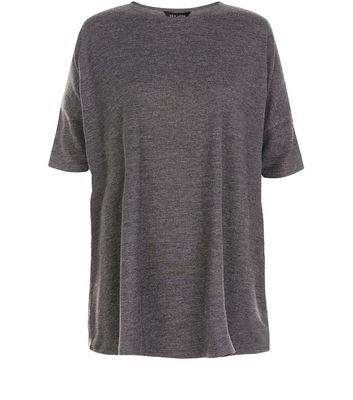 Grey Marl Oversized T Shirt - pattern: plain; style: t-shirt; predominant colour: mid grey; occasions: casual; length: standard; fibres: polyester/polyamide - stretch; fit: loose; neckline: crew; sleeve length: short sleeve; sleeve style: standard; pattern type: fabric; texture group: jersey - stretchy/drapey; season: s/s 2016; wardrobe: basic