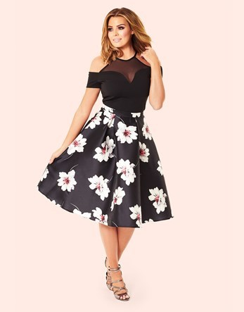Midi Skirt - length: below the knee; style: full/prom skirt; fit: loose/voluminous; waist: mid/regular rise; secondary colour: white; predominant colour: navy; occasions: casual; fibres: polyester/polyamide - 100%; texture group: structured shiny - satin/tafetta/silk etc.; pattern type: fabric; pattern: florals; pattern size: big & busy (bottom); multicoloured: multicoloured; season: s/s 2016; wardrobe: highlight