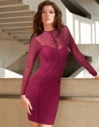 Lace Long Sleeve Dress - length: mid thigh; fit: tight; style: bodycon; hip detail: draws attention to hips; occasions: evening, occasion; fibres: polyester/polyamide - stretch; neckline: crew; sleeve length: long sleeve; sleeve style: standard; texture group: jersey - clingy; pattern type: fabric; pattern: patterned/print; embellishment: lace; predominant colour: raspberry; shoulder detail: sheer at shoulder; season: s/s 2016; wardrobe: event