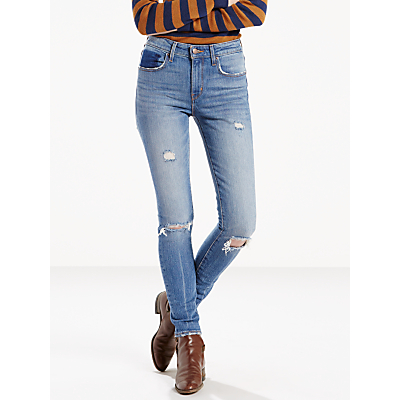 721 High Rise Skinny Jeans, Worn Vintage - style: skinny leg; length: standard; pattern: plain; waist: high rise; pocket detail: traditional 5 pocket; predominant colour: denim; occasions: casual; fibres: cotton - stretch; texture group: denim; pattern type: fabric; jeans detail: rips; season: s/s 2016