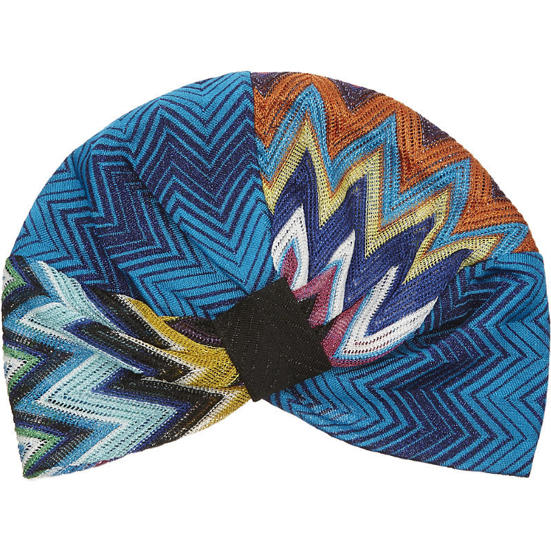 Zig Zag Knitted Turban, Women's, Multi 6001 - predominant colour: diva blue; secondary colour: black; occasions: casual; type of pattern: heavy; style: turban; size: standard; material: fabric; pattern: patterned/print; multicoloured: multicoloured; season: s/s 2016; wardrobe: highlight