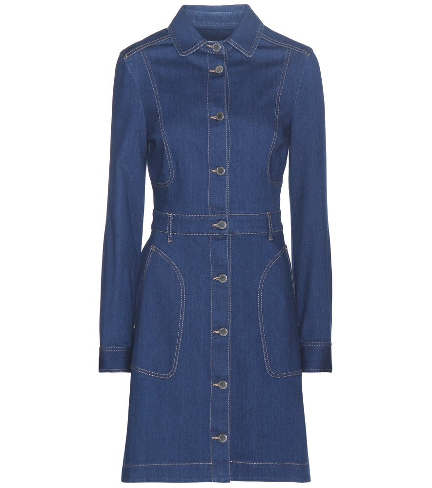 True Blue Denim Dress - style: shirt; neckline: shirt collar/peter pan/zip with opening; pattern: plain; hip detail: fitted at hip; predominant colour: denim; occasions: casual; length: just above the knee; fit: body skimming; fibres: cotton - stretch; sleeve length: long sleeve; sleeve style: standard; texture group: denim; pattern type: fabric; season: s/s 2016