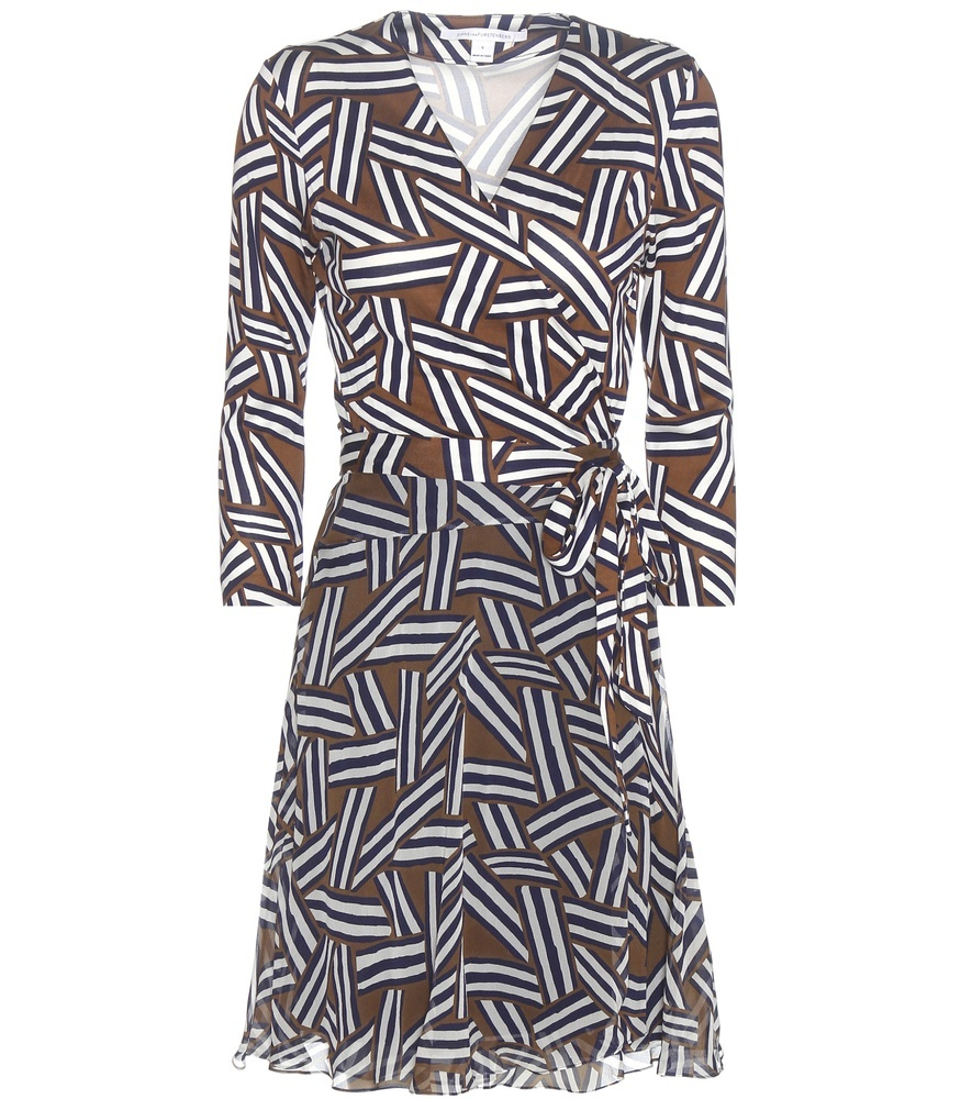Irina Printed Silk Wrap Dress - style: faux wrap/wrap; neckline: v-neck; waist detail: belted waist/tie at waist/drawstring; secondary colour: white; predominant colour: tan; occasions: evening; length: just above the knee; fit: body skimming; fibres: silk - 100%; sleeve length: long sleeve; sleeve style: standard; pattern type: fabric; pattern: patterned/print; texture group: jersey - stretchy/drapey; multicoloured: multicoloured; season: s/s 2016; wardrobe: event