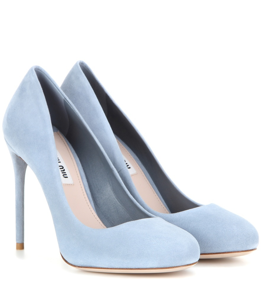 Suede Pumps - predominant colour: pale blue; occasions: evening, occasion, creative work; material: suede; heel: stiletto; toe: round toe; style: courts; finish: plain; pattern: plain; heel height: very high; season: s/s 2016; wardrobe: highlight