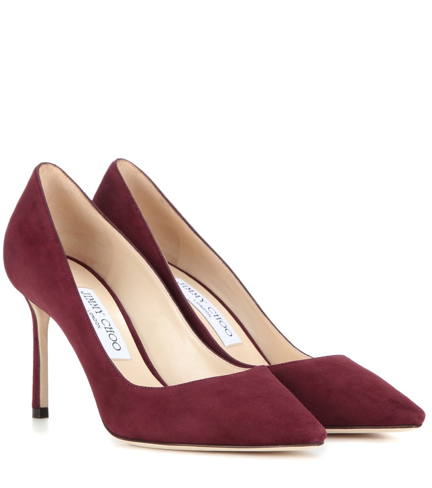 Romy 85 Suede Pumps - predominant colour: burgundy; occasions: evening, occasion, creative work; material: suede; heel: stiletto; toe: pointed toe; style: courts; finish: plain; pattern: plain; heel height: very high; season: s/s 2016