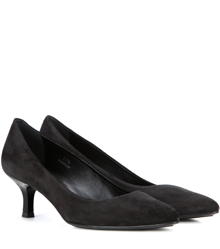Decollete Suede Pumps - predominant colour: black; occasions: work, creative work; material: suede; heel height: mid; heel: kitten; toe: pointed toe; style: courts; finish: plain; pattern: plain; season: s/s 2016; wardrobe: investment