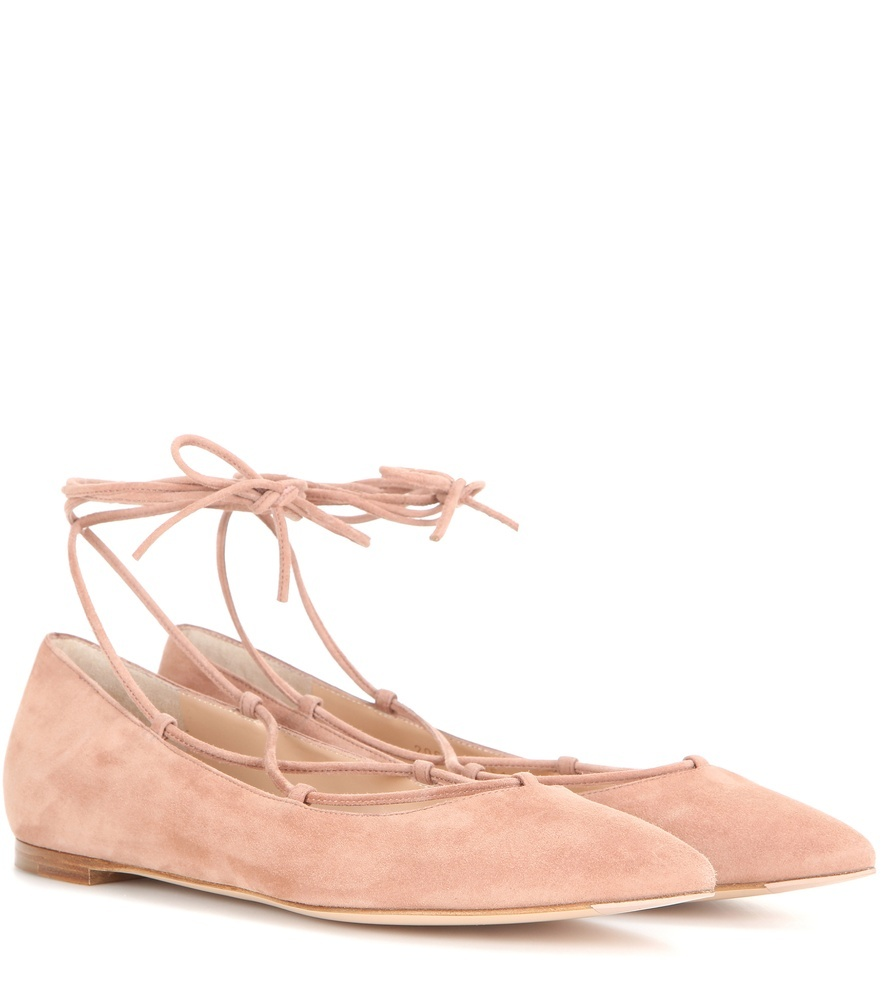 Femì Suede Ballerinas - predominant colour: nude; occasions: casual, creative work; material: suede; heel height: flat; ankle detail: ankle tie; toe: pointed toe; style: ballerinas / pumps; finish: plain; pattern: plain; season: s/s 2016