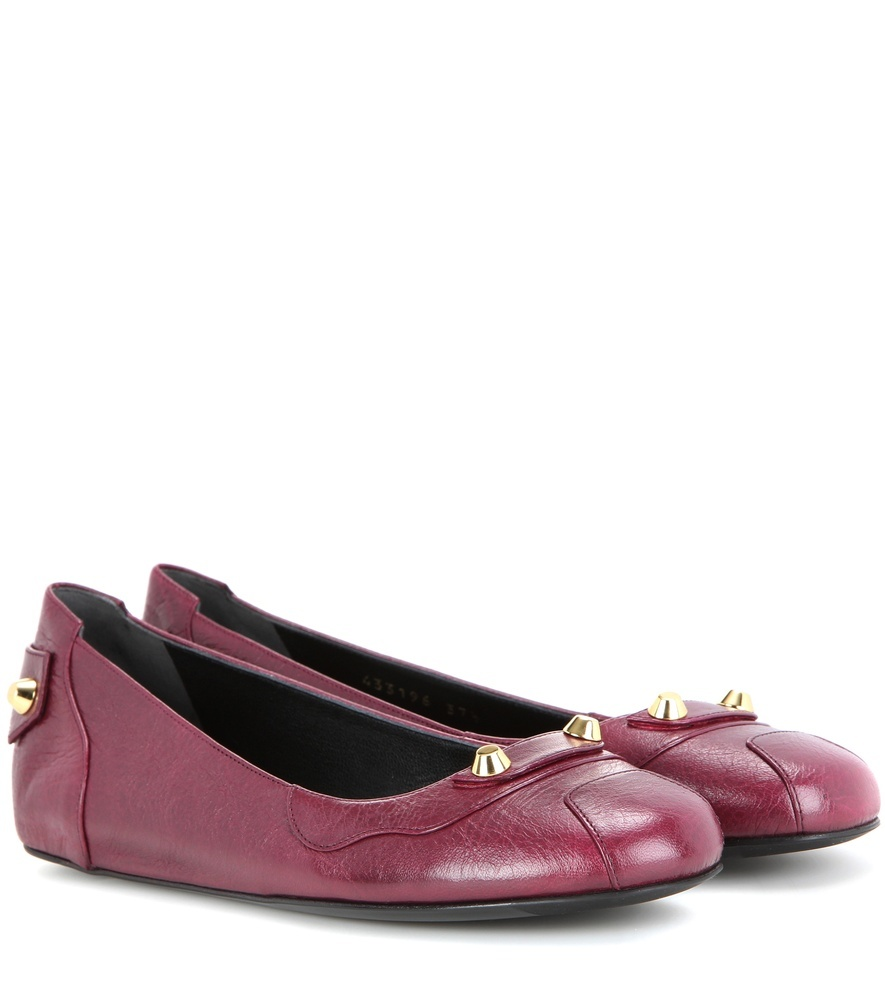 Embellished Leather Ballerinas - predominant colour: hot pink; occasions: casual, creative work; material: leather; heel height: flat; embellishment: snaffles; toe: round toe; style: ballerinas / pumps; finish: patent; pattern: plain; season: s/s 2016; wardrobe: highlight