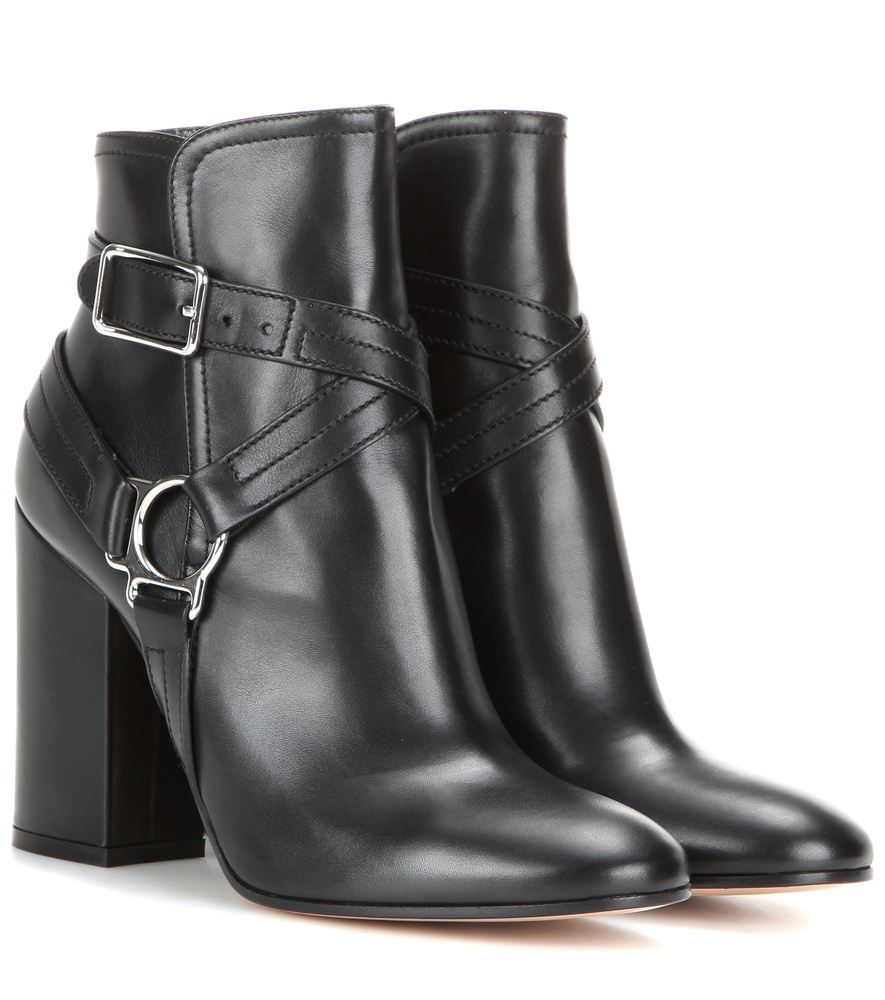 Shetland Embellished Leather Ankle Boots - predominant colour: black; occasions: casual, creative work; material: leather; heel height: high; embellishment: buckles; heel: block; toe: round toe; boot length: ankle boot; style: standard; finish: plain; pattern: plain; season: s/s 2016; wardrobe: highlight