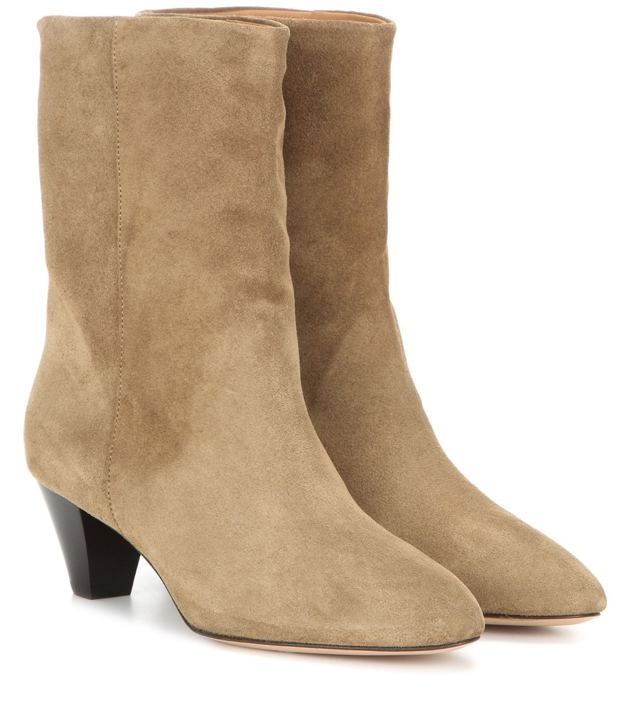 étoile Dyna Suede Boots - predominant colour: camel; occasions: casual, creative work; material: suede; heel height: mid; heel: cone; toe: round toe; boot length: ankle boot; style: standard; finish: plain; pattern: plain; season: s/s 2016; wardrobe: basic