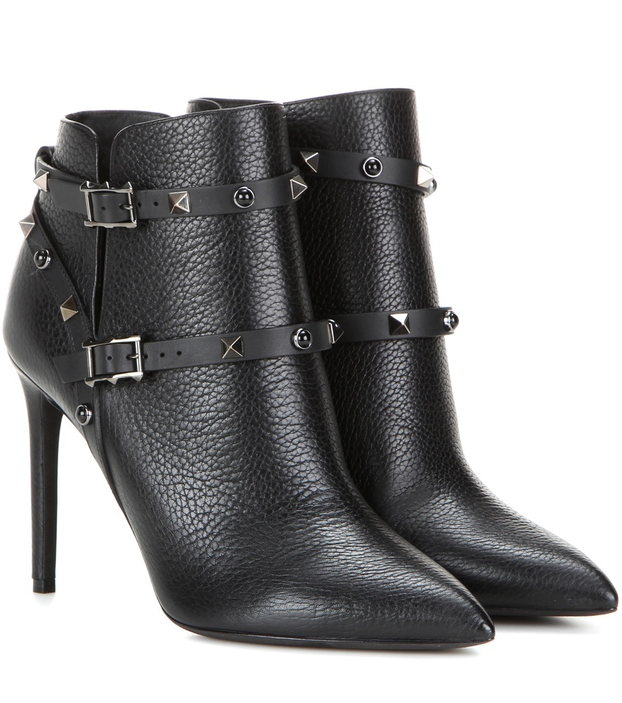 Garavani Rockstud Rolling Noir Leather Ankle Boots - predominant colour: black; occasions: casual, creative work; material: leather; embellishment: buckles; heel: stiletto; toe: pointed toe; boot length: ankle boot; style: standard; finish: plain; pattern: plain; heel height: very high; season: s/s 2016; wardrobe: highlight
