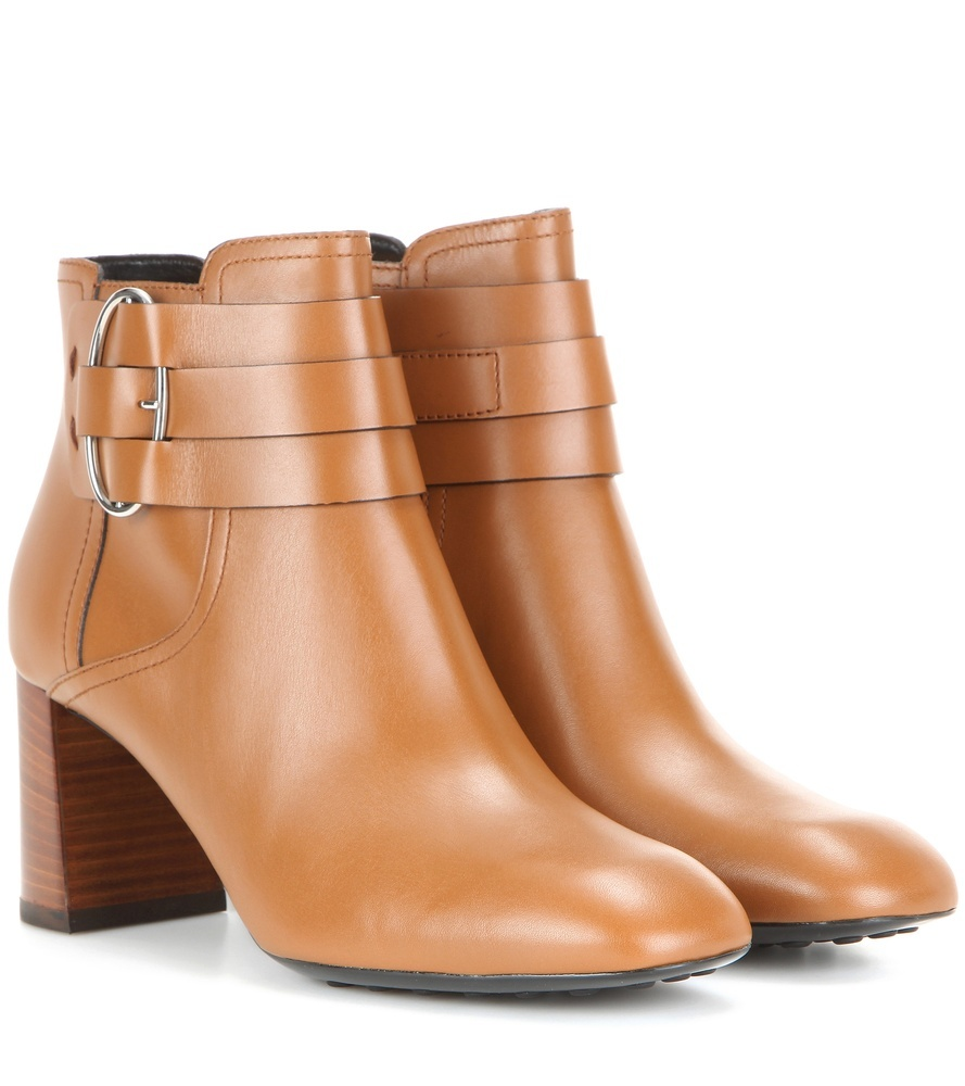 Leather Ankle Boots - predominant colour: tan; occasions: casual, creative work; material: leather; heel height: high; heel: block; toe: round toe; boot length: ankle boot; style: standard; finish: plain; pattern: plain; season: s/s 2016; wardrobe: highlight