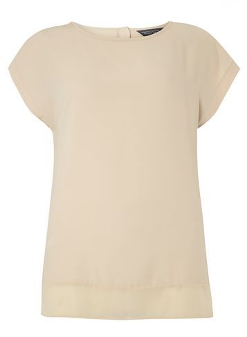 Womens Stone Button Back Woven Tee White - pattern: plain; style: t-shirt; predominant colour: ivory/cream; occasions: casual; length: standard; fibres: polyester/polyamide - 100%; fit: body skimming; neckline: crew; sleeve length: short sleeve; sleeve style: standard; pattern type: fabric; texture group: jersey - stretchy/drapey; season: s/s 2016; wardrobe: basic