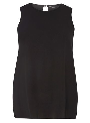Womens Black Dip Back Top Black - pattern: plain; sleeve style: sleeveless; predominant colour: black; occasions: casual; length: standard; style: top; fibres: cotton - 100%; fit: body skimming; neckline: crew; sleeve length: sleeveless; pattern type: fabric; texture group: jersey - stretchy/drapey; season: s/s 2016; wardrobe: basic