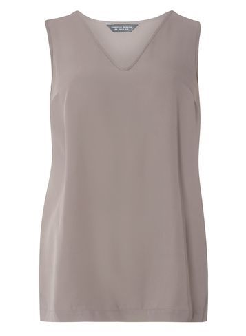 Womens Mocha V Neck Built Up Top Brown - neckline: v-neck; pattern: plain; sleeve style: sleeveless; predominant colour: taupe; occasions: casual; length: standard; style: top; fibres: polyester/polyamide - 100%; fit: body skimming; sleeve length: sleeveless; pattern type: fabric; texture group: other - light to midweight; season: s/s 2016; wardrobe: basic