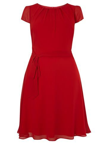 Womens **Billie & Blossom Curve Red Chiffon Dress Red - pattern: plain; waist detail: belted waist/tie at waist/drawstring; predominant colour: true red; occasions: evening; length: just above the knee; fit: fitted at waist & bust; style: fit & flare; fibres: polyester/polyamide - 100%; neckline: crew; sleeve length: short sleeve; sleeve style: standard; texture group: sheer fabrics/chiffon/organza etc.; pattern type: fabric; season: s/s 2016; wardrobe: event