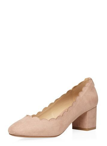 Womens Blush 'destiny' Scalloped Court Shoes Blush. - predominant colour: blush; material: suede; heel height: mid; heel: block; toe: round toe; style: courts; finish: plain; pattern: plain; occasions: creative work; season: s/s 2016; wardrobe: investment