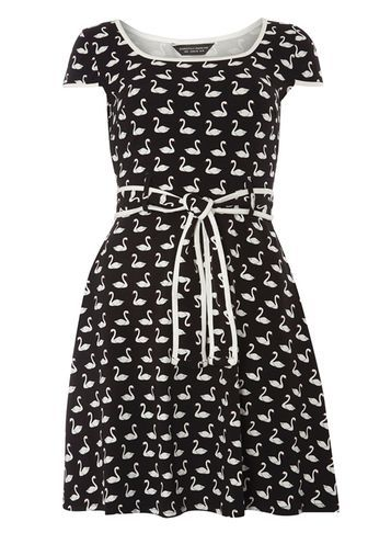Womens Black Swan Print Belted Dress Black - length: mid thigh; neckline: round neck; sleeve style: capped; waist detail: belted waist/tie at waist/drawstring; secondary colour: white; predominant colour: black; occasions: casual; fit: fitted at waist & bust; style: fit & flare; fibres: cotton - stretch; sleeve length: short sleeve; pattern type: fabric; pattern: patterned/print; texture group: jersey - stretchy/drapey; multicoloured: multicoloured; season: s/s 2016