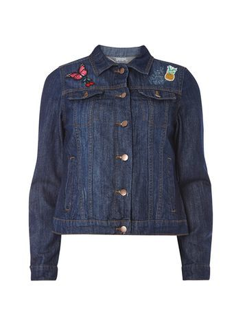 Womens Indigo Badge Denim Jacket Blue - pattern: plain; style: denim; predominant colour: navy; occasions: casual; length: standard; fit: straight cut (boxy); fibres: cotton - stretch; collar: shirt collar/peter pan/zip with opening; sleeve length: long sleeve; sleeve style: standard; texture group: denim; collar break: high/illusion of break when open; pattern type: fabric; embellishment: embroidered; season: s/s 2016; wardrobe: basic; embellishment location: bust