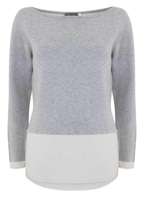 Silver Grey Block Curved Hem Knit - neckline: round neck; pattern: plain; style: standard; secondary colour: white; predominant colour: mid grey; occasions: casual; length: standard; fibres: nylon - mix; fit: standard fit; sleeve length: long sleeve; sleeve style: standard; texture group: knits/crochet; pattern type: knitted - fine stitch; multicoloured: multicoloured; season: s/s 2016; wardrobe: basic