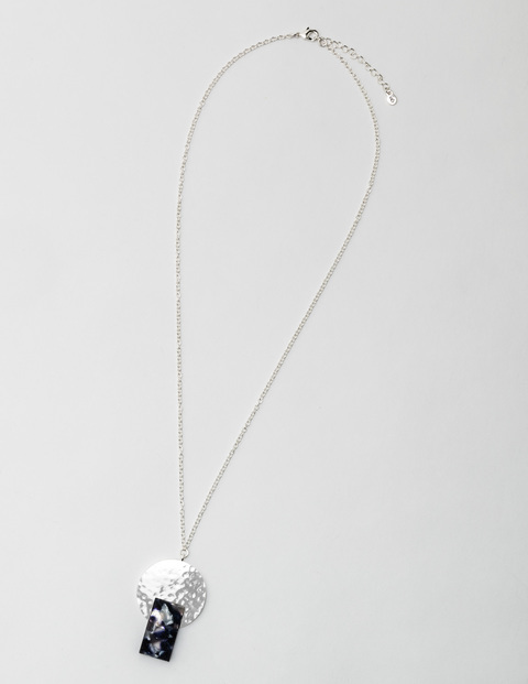 Emilia Necklace Silver/Grey Tort Women Boden, Silver/Grey Tort - predominant colour: silver; secondary colour: black; occasions: casual, creative work; style: pendant; length: mid; size: standard; material: chain/metal; finish: plain; season: s/s 2016; wardrobe: basic