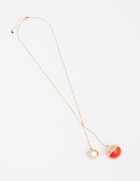 Libby Necklace Gold/Neon Rosehip Women Boden, Gold/Neon Rosehip - predominant colour: gold; occasions: casual, creative work; style: pendant; length: mid; size: standard; material: chain/metal; finish: metallic; embellishment: pearls; season: s/s 2016