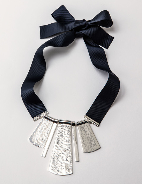 Olivia Necklace Silver Women Boden, Silver - secondary colour: navy; predominant colour: silver; occasions: evening, occasion; length: mid; size: large/oversized; material: fabric/cotton; finish: plain; embellishment: chain/metal; style: bib/statement; season: s/s 2016; wardrobe: event