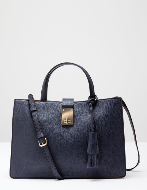 Twist Lock Bag Navy/New Camel Women Boden, Navy/New Camel - predominant colour: navy; occasions: casual, work, creative work; type of pattern: standard; style: tote; length: handle; size: standard; material: leather; pattern: plain; finish: plain; season: s/s 2016; wardrobe: investment